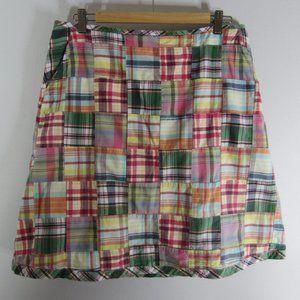 L.L. Bean 14 Multi-Color Madras Plaid Skirt Cotton